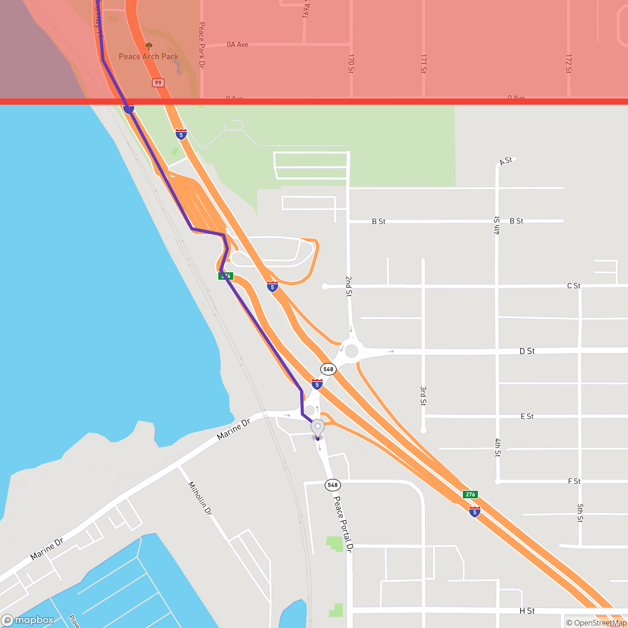 Peace Arch Location Map